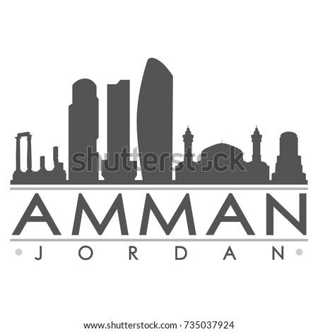 1294e611e148 Amman Jordan Skyline Silhouette Design City Vector Art Famous Buildings