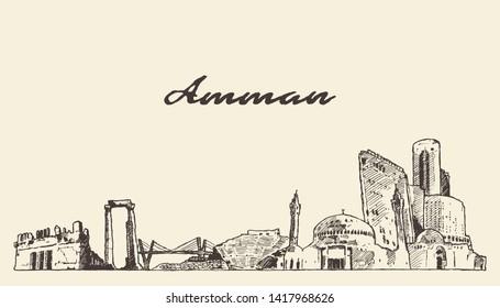 Amman skyline, Jordan, hand drawn vector illustration, sketch