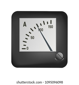 Ammeter to measure the current. Electrical equipment vector illustration. Microammeter.