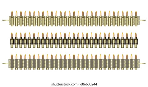 Ammo belt. Machine-gun belts on a white background. Color vector illustration