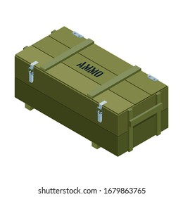 Ammo box vector icon. Isometric vector icon isolated on white background military box .