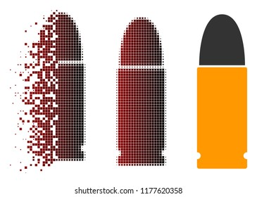 Ammo bullet icon in sparkle, dotted halftone and undamaged solid variants. Pieces are grouped into vector sparkle ammo bullet symbol.
