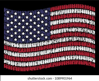Ammo bullet icons are combined into waving United States flag mosaic on a dark background. Vector collage of USA state flag is formed from ammo bullet elements.