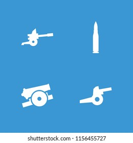Ammo icon. collection of 4 ammo filled icons such as cannon. editable ammo icons for web and mobile.