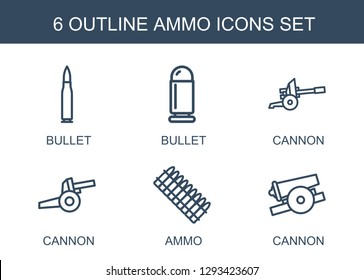 ammo icons. Trendy 6 ammo icons. Contain icons such as bullet, cannon. ammo icon for web and mobile.