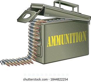 ammunition belt with gun cartridges in ammunition box