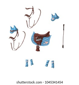 Ammunition of a horse for dressage, jumping - saddle, voltrap, whip, ears, bridle, bandages.