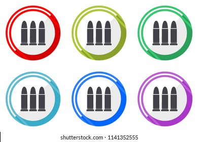 Ammunition vector icon set. Colorful flat design web icons on white background in eps 10.