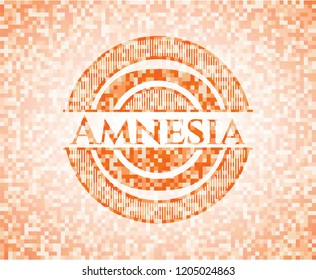 Amnesia abstract orange mosaic emblem