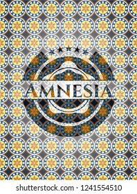 Amnesia arabesque style badge. arabic decoration.