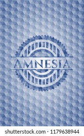 Amnesia blue badge with geometric background.