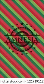 Amnesia christmas emblem background.