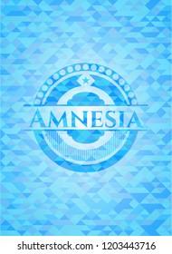 Amnesia light blue emblem. Mosaic background