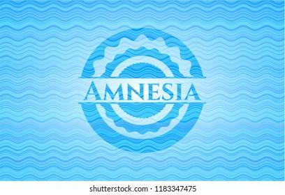 Amnesia light blue water emblem background.