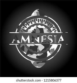Amnesia on grey camouflaged texture