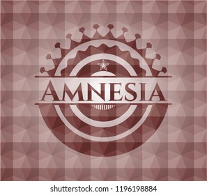 Amnesia red seamless emblem or badge with abstract geometric polygonal pattern background.