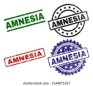 AMNESIA seal stamps with damaged style. Black, green,red,blue vector rubber prints of AMNESIA tag with scratched style. Rubber seals with circle, rectangle, medallion shapes.