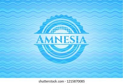 Amnesia sky blue water wave badge.