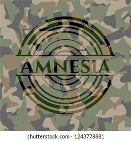 Amnesia written on a camo texture