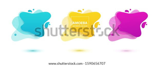 Amoeba liquid design. Dynamical colored forms of amoeba. Modern banner template for logo, flyer, presentation design. Yellow, red, blue colors