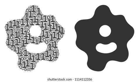 Amoeba mosaic icon of zero and one symbols in variable sizes. Vector digits are randomized into amoeba illustration design concept.