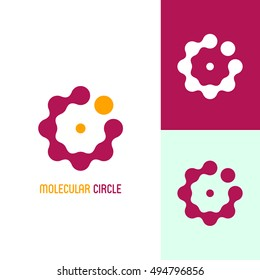 Among molecules. Icon or logo template for medicine, science, laboratory,. Mockup symbol for corporate branding identity. Technology label inspiration for advertising, business, web design. Vector.