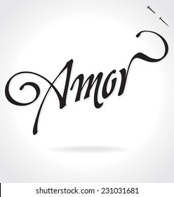AMOR (Love in Spanish) original custom hand lettering -- handmade calligraphy, vector (eps8); typography background/ overlay for romantic photo cards/ party invitations for Valentine's Day or wedding;