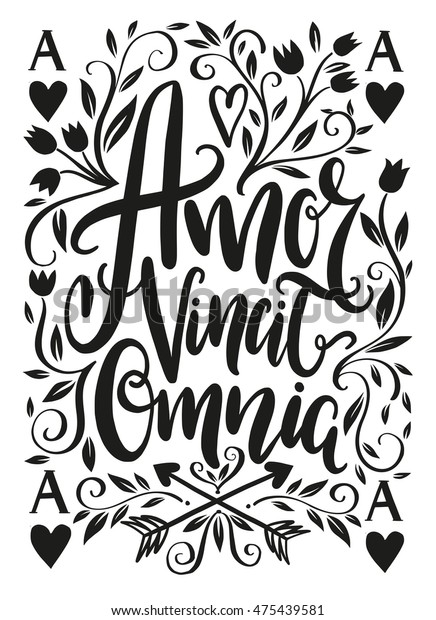 Amor Vincit Omnia Lettering Design Love Stock Vector Royalty Free