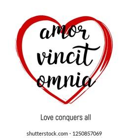 Amor vincit omnia - Love concuers all. Latin quote. Valentines day card. Vector.