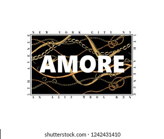 Amore slogan with chain pattern print  for t shirt design.