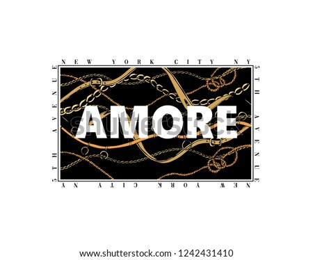 Amore slogan with chain