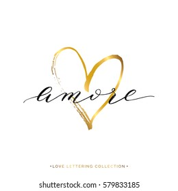 Amore text with gold heart isolated on white background, love in Italian, hand painted letter, golden vector love lettering for greeting card, poster, invitation, wedding, handwritten calligraphy