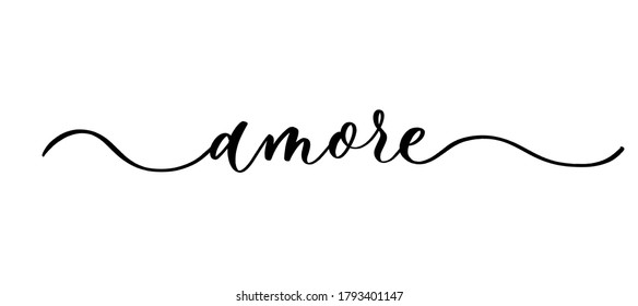 Amore - vector calligraphic inscription with smooth lines.