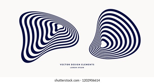 The amorphous element with the effect of visual distortion. Black and white stripes on the background.