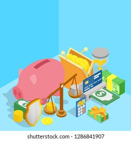 Amount of money concept banner. Isometric banner of amount of money vector concept for web, giftcard and postcard