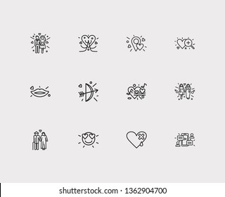 Amour icons set. Couple and amour icons with heart with plaster, lips and lesbian. Set of musical for web app logo UI design.