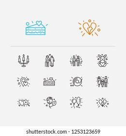 Amour icons set. Old couple and amour icons with gay couple, soft toy and family. Set of pair for web app logo UI design.