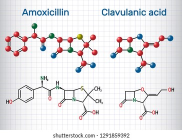 Amoxicillin and clavulanic acid drug molecule. Sheet of paper in a cage. Structural chemical formula and molecule model. Vector illustration