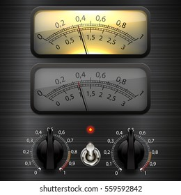 Amp meter. Measuring device. Amp tube scale meter. Vector audio VU meters.  Audio equipment.  Switcher, Button, Knobs, Lamps.