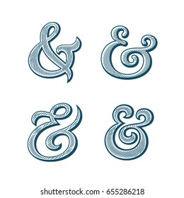 Ampersand collection. Decoration ampersands with natural wood texture. Linocut print stylized vector illustration. Elegant and stylish custom vector ampersands for wedding invitation or other print.