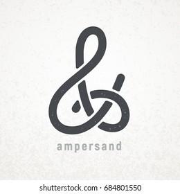 Ampersand. Elegant vector symbol on grunge background. Eps8. RGB. Global colors