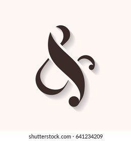 Ampersand icon with shadows, vector illustration