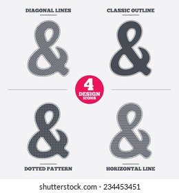 Ampersand rounded sign icon. Programming logical operator AND. Wedding invitation symbol. Diagonal and horizontal lines, classic outline, dotted texture. Pattern design icons.  Vector