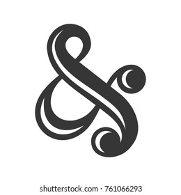 Ampersand Sign on White Background. Vector