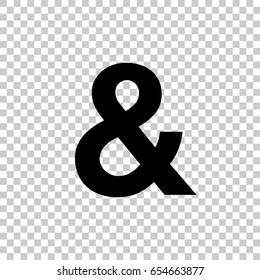 Ampersand Symbol isolated on transparent background. Black symbol for your design. Vector illustration, easy to edit.