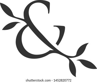 ampersand vector logo with leaves