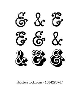 Ampersands. Hand drawn lettering. Set of ready-to-use design elements. Vector illustration.
