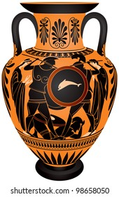 Amphora, Ancient Greece black-figure vase painting Hoplite battle vector images, ceramic pottery for the vine and olive oil