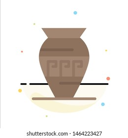 Amphora, Ancient Jar, Emojis, Jar, Greece Abstract Flat Color Icon Template. Vector Icon Template background