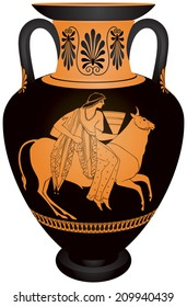 "Amphora ""Europa and the bull"", Ancient Greece myth of the abduction of Phoenician princess Europa by Zeus in the form of a bull, red-figure vase painting vector image, ceramic pottery for the vine"
